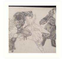 2 villians shaded 2 to go  Art Print