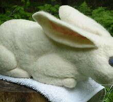 Creamy White Rabbit by Felt4Ewe