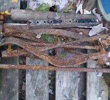 Old rusty hand-push lawn mower  by Felt4Ewe