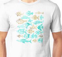 Gold & Turquoise Inked Fish Unisex T-Shirt