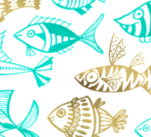 Gold & Turquoise Inked Fish Sticker