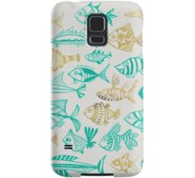 Gold & Turquoise Inked Fish Samsung Galaxy Case/Skin
