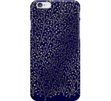 Gold Berry Branches on Navy iPhone Case/Skin