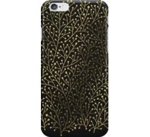 Gold Berry Branches on Black iPhone Case/Skin