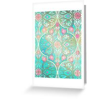 Floral Moroccan in Spring Pastels - Aqua, Pink, Mint & Peach Greeting Card