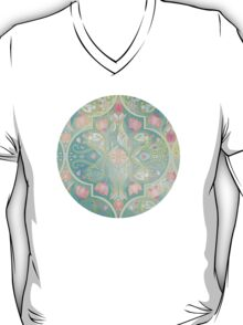 Floral Moroccan in Spring Pastels - Aqua, Pink, Mint & Peach T-Shirt