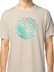 Floral Moroccan in Spring Pastels - Aqua, Pink, Mint & Peach Classic T-Shirt