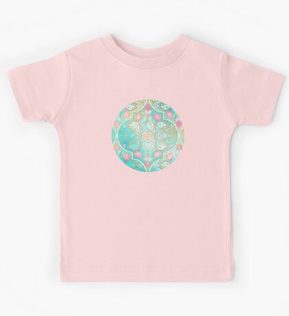 Floral Moroccan in Spring Pastels - Aqua, Pink, Mint & Peach Kids Tee