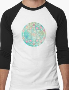 Floral Moroccan in Spring Pastels - Aqua, Pink, Mint & Peach Men's Baseball ¾ T-Shirt
