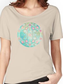 Floral Moroccan in Spring Pastels - Aqua, Pink, Mint & Peach Women's Relaxed Fit T-Shirt