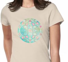 Floral Moroccan in Spring Pastels - Aqua, Pink, Mint & Peach Womens Fitted T-Shirt