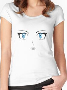 Cartoon female face Women's Fitted Scoop T-Shirt