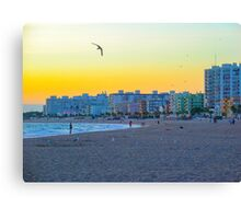 The end of a beach day in September Canvas Print