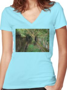 Jungle Temple Ruins in Cambodia Women's Fitted V-Neck T-Shirt
