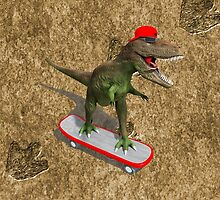 Skateboarding T-Rex by Packrat