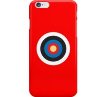 Bulls Eye, Right on Target, Roundel, Archery on Red iPhone Case/Skin