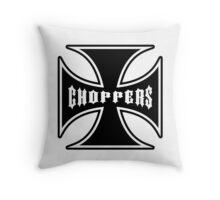 Chopper Maltese Cross Design Black Throw Pillow