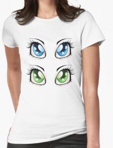 Cartoon female eyes 2 Womens Fitted T-Shirt