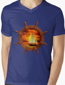 Sailboat Sunset Mens V-Neck T-Shirt