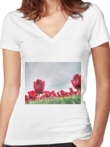 Red tulips 4 Women's Fitted V-Neck T-Shirt