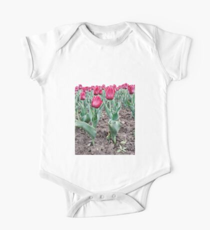 Red tulips 7 One Piece - Short Sleeve