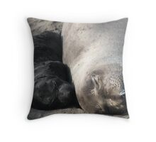 Elephant Seal Naptime Throw Pillow