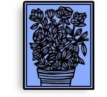 Cedilla Flowers Blue Black Canvas Print