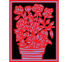 Ravel Flowers Red Black Blue Photographic Print