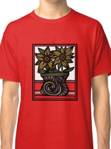 Sable Flowers Yellow Blue Green Classic T-Shirt