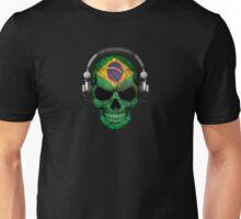 Dj Skull with Brazilian Flag Unisex T-Shirt
