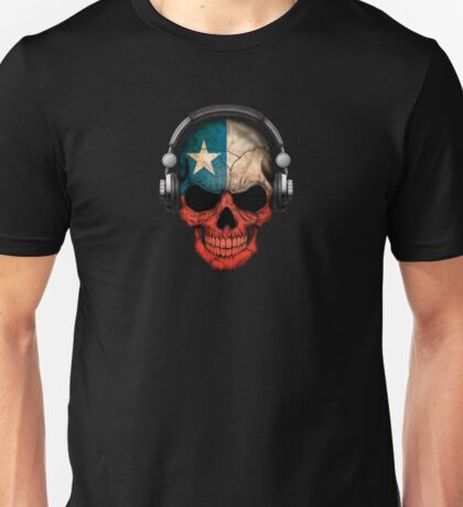 Dj Skull with Chilean Flag Unisex T-Shirt