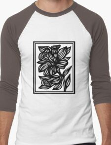Aphotic Flowers Black and White Men's Baseball ¾ T-Shirt