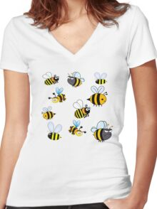 Bumblebees Women's Fitted V-Neck T-Shirt