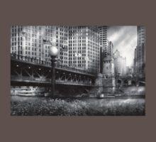 Chicago, IL - DuSable Bridge built in 1920  - BW Kids Clothes