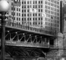 Chicago, IL - DuSable Bridge built in 1920  - BW Sticker