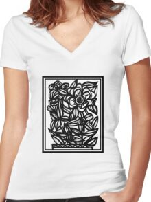 Philtrum Flowers Black and White Women's Fitted V-Neck T-Shirt