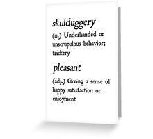 """Skulduggery Pleasant"" Definition (Black) Greeting Card"