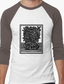 Auxiliary Flowers Black and White Men's Baseball ¾ T-Shirt