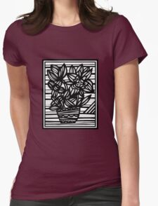 Paucity Flowers Black and White Womens Fitted T-Shirt