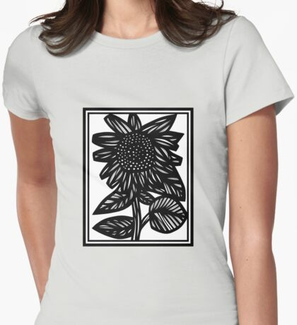 Lubricious Flowers Black and White Womens Fitted T-Shirt
