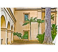 Stylized photo of Spanish architecture and palm trees in courtyard of Casa del Prado  in Balboa Park, San Diego CA. Poster
