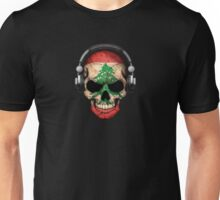 Dj Skull with Lebanese Flag Unisex T-Shirt