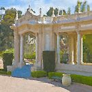 Stylized photo of Spanish architecture at Spreckels Organ Pavillion in Balboa Park, San Diego CA.  by NaturaLight