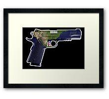 DoubleStar M1911, Earth Gun, Pistol, 2nd Amendment, USA Framed Print