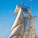 Impasto-stylized photo of the Tall Ship Californian at Dana Point Harbor, CA US. by NaturaLight