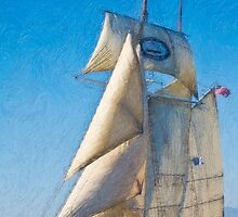 Impasto-stylized photo of the Tall Ship Californian at Dana Point Harbor, CA US. by NaturaLight