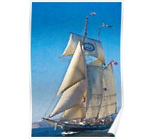 Impasto-stylized photo of the Tall Ship Californian at Dana Point Harbor, CA US. Poster