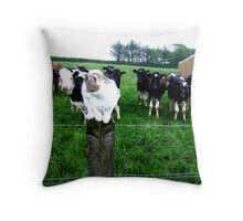 Cat & Cows Throw Pillow