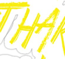 Skate Fast Hit Hard Turn Left - Roller Derby - Yellow Typography Sticker