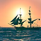 Stylized photo of the Tall Ship Irving Johnson at sunset off Dana Point, CA US. by NaturaLight